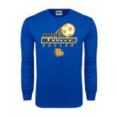 Royal Long Sleeve T Shirt-Soccer Ball Stacked Desgin