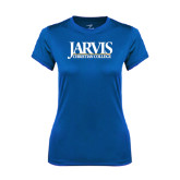 Ladies Syntrel Performance Royal Tee-Jarvis Christian College - Institutional Mark