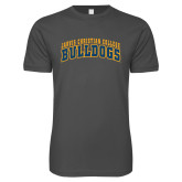 Next Level SoftStyle Charcoal T Shirt-Arched Jarvis Christian College Bulldogs