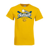 Gold T Shirt-Crossed Bats Softball Design