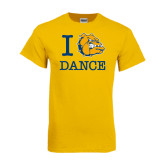 Gold T Shirt-I Love Dance Design