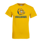 Gold T Shirt-Jarvis Chrsitian College Bulldogs w/ Major Stacked - Distressed