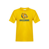 Youth Gold T Shirt-Jarvis Chrsitian College Bulldogs w/ Major Stacked - Distressed