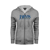 ENZA Ladies Grey Fleece Full Zip Hoodie-Jarvis Christian College - Institutional Mark