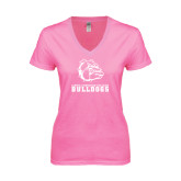 Next Level Ladies Junior Fit Deep V Pink Tee-Jarvis Chrsitian College Bulldogs w/ Major Stacked