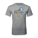 Grey T Shirt-Soccer Ball Stacked Desgin