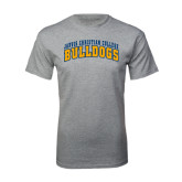 Grey T Shirt-Arched Jarvis Christian College Bulldogs