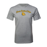 Grey T Shirt-Arched Jarvis Christian College - Script