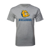 Grey T Shirt-Jarvis Chrsitian College Bulldogs w/ Major Stacked - Distressed