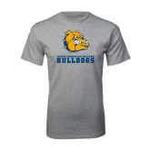 Grey T Shirt-Jarvis Chrsitian College Bulldogs w/ Major Stacked