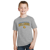 Youth Grey T-Shirt-Arched Jarvis Chrsitian Bulldogs w/ Major