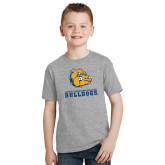 Youth Grey T-Shirt-Jarvis Chrsitian College Bulldogs w/ Major Stacked - Distressed