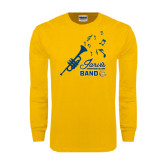 Gold Long Sleeve T Shirt-Band Design