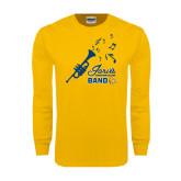 Gold Long Sleeve T Shirt-Band Design