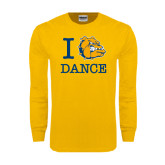 Gold Long Sleeve T Shirt-I Love Dance Design