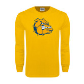 Gold Long Sleeve T Shirt-Major - Bulldog Head