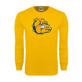 Gold Long Sleeve T Shirt-Major - Bulldog Head