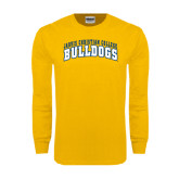 Gold Long Sleeve T Shirt-Arched Jarvis Christian College Bulldogs