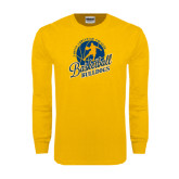Gold Long Sleeve T Shirt-Basketball w/ Player in Ball Design