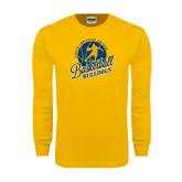 Gold Long Sleeve T Shirt-Basketball w/ Player in Ball Design