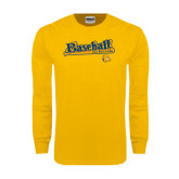 Gold Long Sleeve T Shirt-Baseball Bat Design