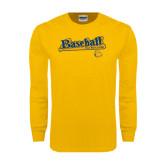 Gold Long Sleeve T Shirt-Baseball Bat Design