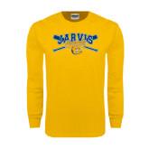 Gold Long Sleeve T Shirt-Crossed Bats Baseball Design