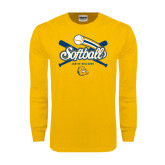 Gold Long Sleeve T Shirt-Crossed Bats Softball Design
