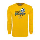 Gold Long Sleeve T Shirt-Soccer Ball Stacked Desgin