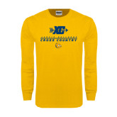 Gold Long Sleeve T Shirt-Cross Country Design