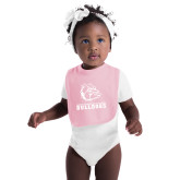 Light Pink Baby Bib-Jarvis Chrsitian College Bulldogs w/ Major Stacked