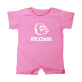 Bubble Gum Pink Infant Romper-Jarvis Chrsitian College Bulldogs w/ Major Stacked