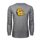 Grey Long Sleeve T Shirt-Major - Bulldog Head