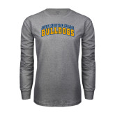 Grey Long Sleeve T Shirt-Arched Jarvis Christian College Bulldogs