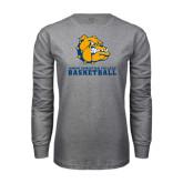 Grey Long Sleeve T Shirt-Basketball