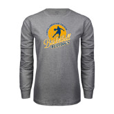 Grey Long Sleeve T Shirt-Basketball w/ Player in Ball Design