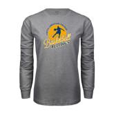 Grey Long Sleeve T Shirt-Basketball w/ Player in Ball Design