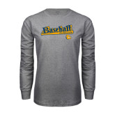 Grey Long Sleeve T Shirt-Baseball Bat Design