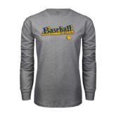 Grey Long Sleeve T Shirt-Baseball Bat Design