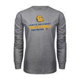 Grey Long Sleeve T Shirt-Can You Dig It - Volleyball Design