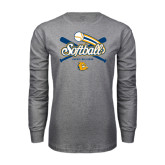 Grey Long Sleeve T Shirt-Crossed Bats Softball Design