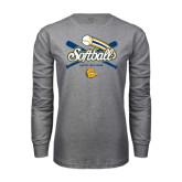 Grey Long Sleeve T Shirt-Crossed Bats Softball Design