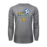 Grey Long Sleeve T Shirt-Soccer Ball Stacked Desgin