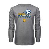 Grey Long Sleeve T Shirt-Soccer Ball Stacked Desgin