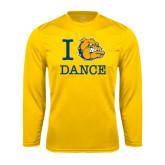 Syntrel Performance Gold Longsleeve Shirt-I Love Dance Design