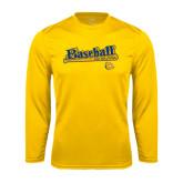 Syntrel Performance Gold Longsleeve Shirt-Baseball Bat Design