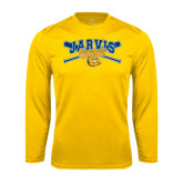 Syntrel Performance Gold Longsleeve Shirt-Crossed Bats Baseball Design