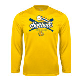 Syntrel Performance Gold Longsleeve Shirt-Crossed Bats Softball Design