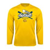 Syntrel Performance Gold Longsleeve Shirt-Crossed Bats Softball Design