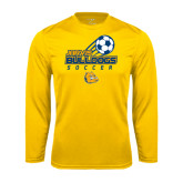 Syntrel Performance Gold Longsleeve Shirt-Soccer Ball Stacked Desgin